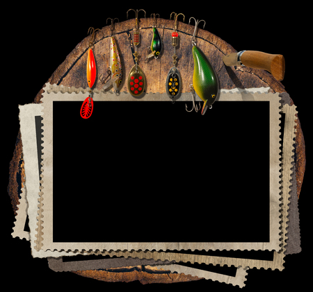 Empty, old and vintage photo frames and artificial fishing baits with folding knife. On a tree trunk and Isolated on a black background