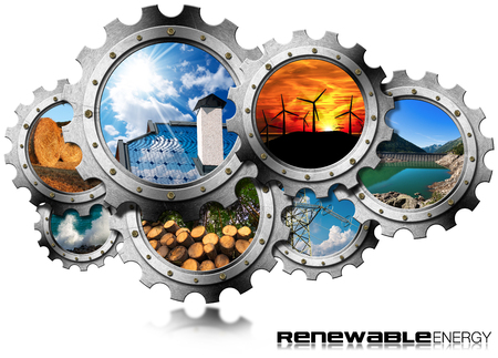 Photo pour Renewable Energy Concept - Group of gears with the sustainable energies. Wind, solar, biomass, hydropower, power of the sea - image libre de droit