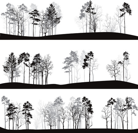 Illustration pour set of different landscapes with pine trees, hand drawn vector illustration - image libre de droit