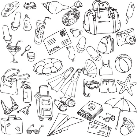 Illustration pour vector sea and travel set of sketch, hand drawn infographic sketches, sea and travel line drawing design elements - image libre de droit