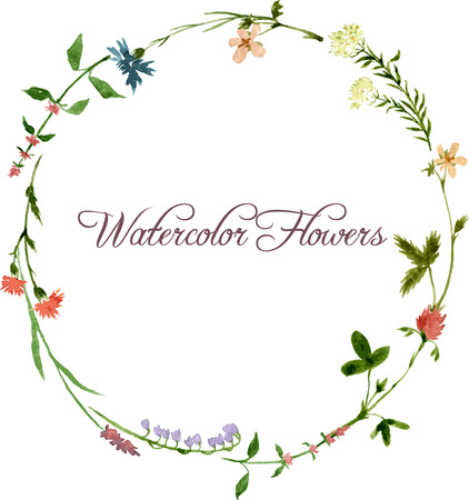 Illustration pour vector watercolor floral frame with wild flowers, hand drawn vector template - image libre de droit