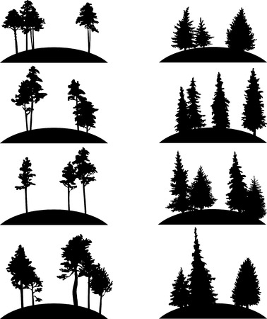 Illustration pour set of different landscapes with pine trees and fir-trees, hand drawn vector illustration, hand drawn icons, monochrome emblems - image libre de droit