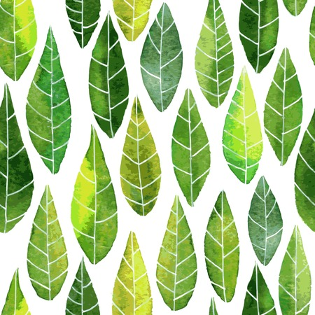 Illustration pour vector seamless pattern with abstract green leaves with streaks drawing by watercolor, hand drawn vector elements - image libre de droit