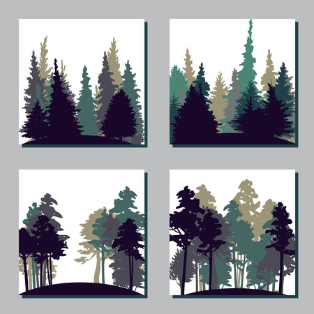 Illustration pour set of different landscapes with pine trees and fir-trees, square templates with forest, hand drawn vector illustration - image libre de droit