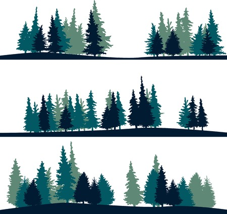 Illustration pour set of different silhouettes of landscape with fir-trees, vector illustration - image libre de droit