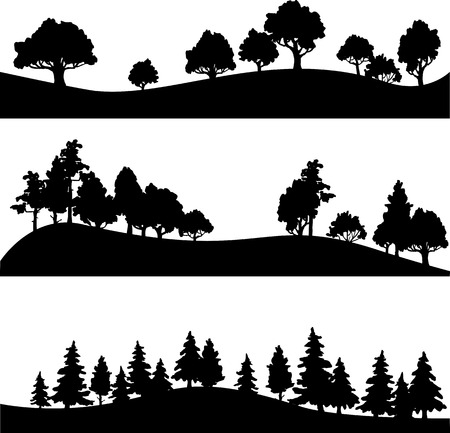 Illustration pour set of different silhouettes of landscape with trees, vector illustration - image libre de droit
