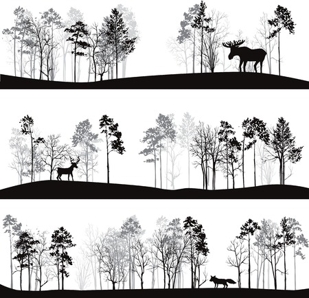 Illustration pour set of different landscapes with pine trees and wild animals, forest silhouettes with deer, elk, fox, hand drawn vector illustration - image libre de droit