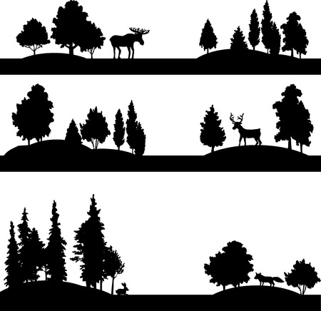 Illustration pour set of different landscapes with deciduous trees, coniferous trees and wild animals, silhouettes forest with elk,deer, fox and rabbit, hand drawn vector illustration - image libre de droit