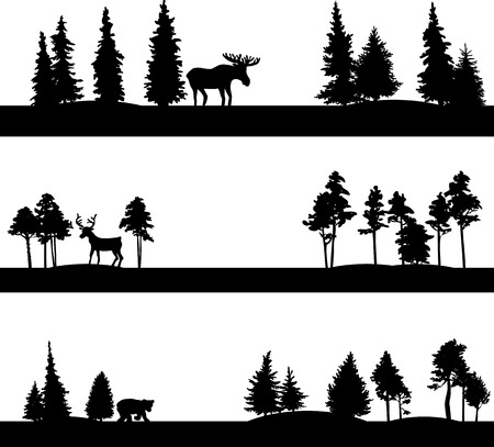 Illustration pour set of different landscapes with coniferous trees and wild animals, silhouettes of forest with elk,deer and bear, hand drawn vector illustration - image libre de droit