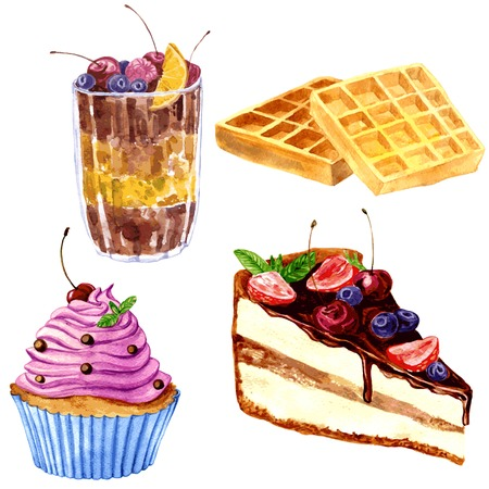Ilustración de set of watercolor drawing desserts, crispy Viennese wafers, chocolate dessert with fresh berries, cupcake with pink cream and piece of chocolate cake, hand drawn vector illustration - Imagen libre de derechos