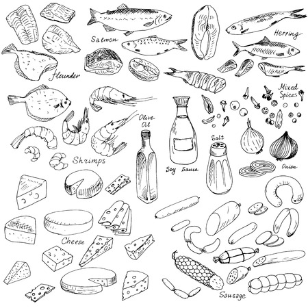 Illustration pour meat,fish and cheese,vector food set, ink drawing vector elements - image libre de droit