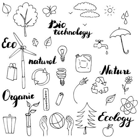 Ilustración de ecology vector doodle set, hand drawn illustration - Imagen libre de derechos