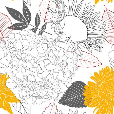 Illustration pour Vector seamless pattern with flowers and leaves illustration. - image libre de droit