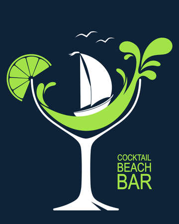 Ilustración de Cocktail glass with stylized wave splashes and sailing boat. Beach bar or summer cocktail party design - Imagen libre de derechos