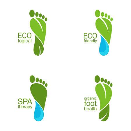 Ilustración de Set of footprints of green leaves and water drops for ecology, organic health and beauty care design - Imagen libre de derechos