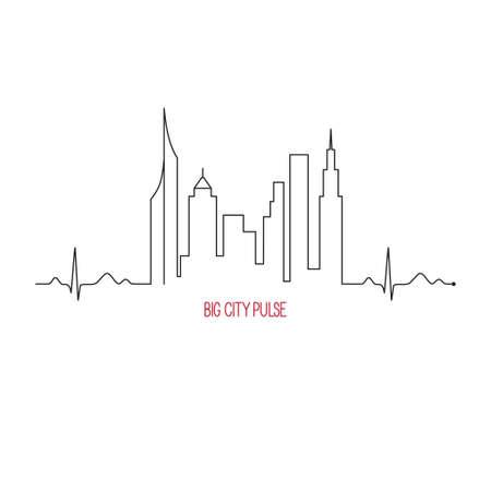 Ilustración de City pulse concept with cardiogram and skyscrapers skyline - Imagen libre de derechos