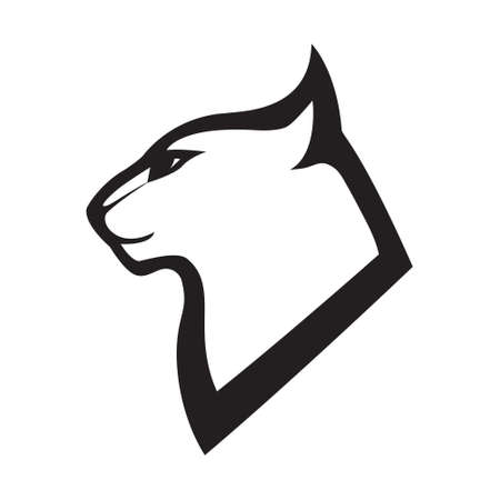 Illustration pour Head profile of cat. Stylized vector emblem . Black image on white background, vector isolated. - image libre de droit