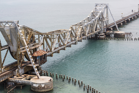 Foto de Close up of Pamban Bridge is a railway bridge which connects the town of Rameswaram on Pamban Island to mainland India. Bridge Indira Gandhi - Imagen libre de derechos