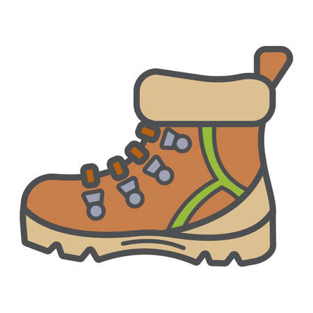 Illustration pour Tourists boots for comfort travel and hiking in modern flat style with outline. Attribute of traveller and tourist. Forest equipment for time and navigation. Vector illustration - image libre de droit