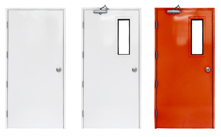 Foto de Variation of fire exit door in condominium or apartment for emergency fire alarm, isolate on white - Imagen libre de derechos