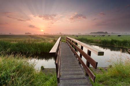 Photo for beautiful sunrise over bike bridge in farmland, Netherlands - Royalty Free Image
