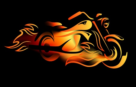 fiery motorcycle vector illustration