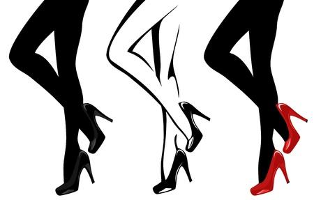 beautiful women legs wearing high-heeled shoes vector illustration