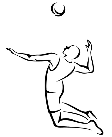 volleyball player fine black and white outline