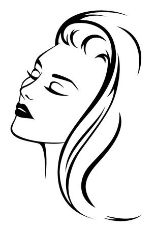 Illustration for beautiful woman face with long hair - black and white vector illustration - Royalty Free Image