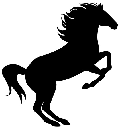 rearing horse fine silhouette - black over white