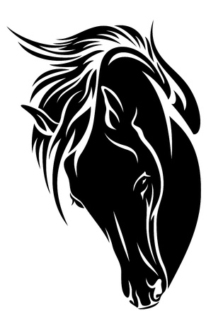 black horse head  design - dark outline over white