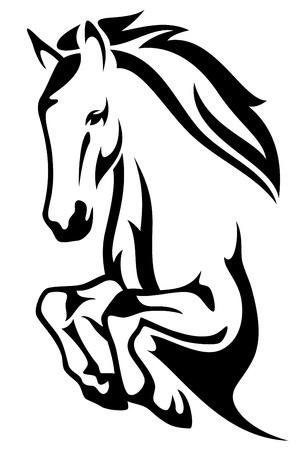 Illustration pour jumping horse black and white vector outline - image libre de droit