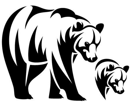 Illustration pour walking bear and animal head black and white  outline emblem - image libre de droit