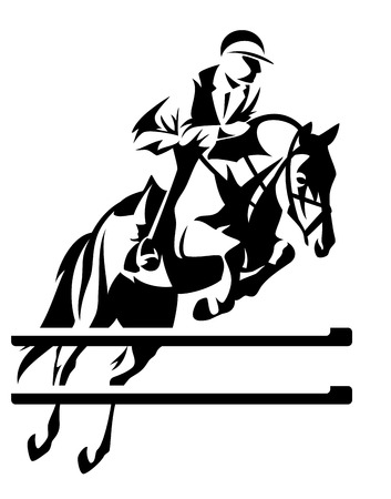 Illustration for 	show jumping horseman vector design - black and white equestrian sport emblem - Royalty Free Image