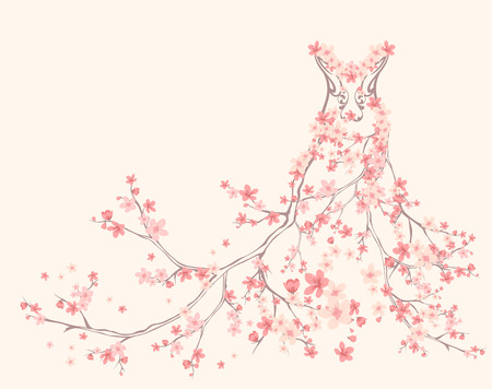 Photo pour 	spring season dress made of tender pink flower branches - image libre de droit