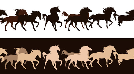 running horses herd contrast outlines - seamless silhouette decor border