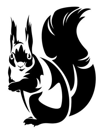 Photo pour sitting squirrel (sciurus) - black and white outline - image libre de droit
