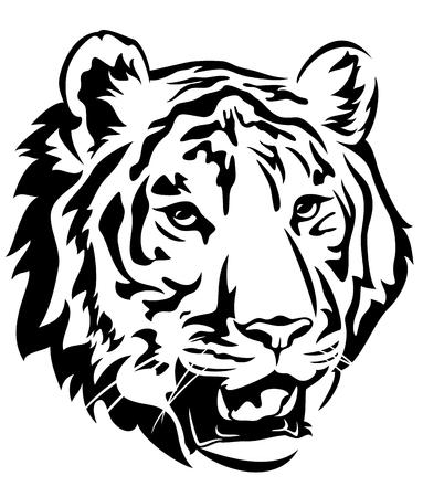 Illustration pour tiger head emblem design - big cat black and white vector outline - image libre de droit
