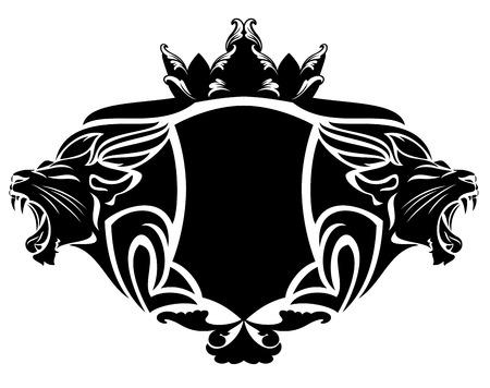 Illustration pour royal lion with crown black and white design element - image libre de droit
