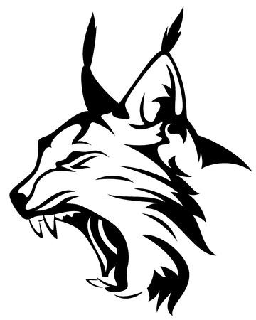 Ilustración de wild lynx head mascot - black and white animal design - Imagen libre de derechos