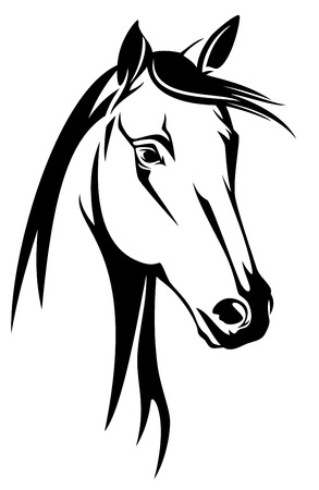 Illustration pour horse head black and white design  - image libre de droit
