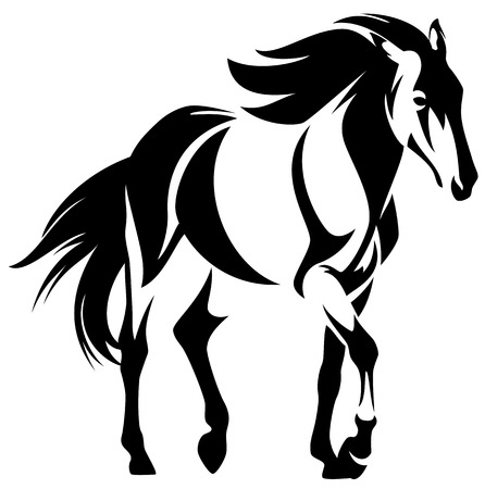 Ilustración de wild horse black and white outline - mustang vector design - Imagen libre de derechos