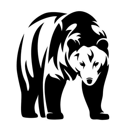 Illustration pour grizzly bear black and white vector design - standing animal monochrome outline - image libre de droit