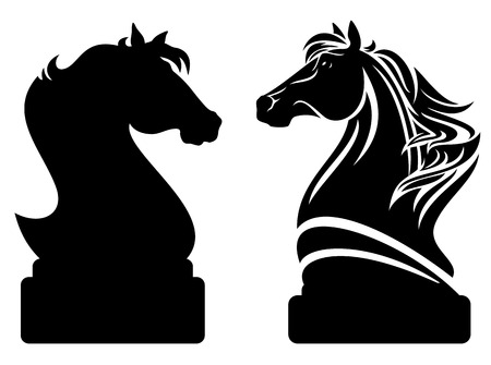 Ilustración de chess knight design - black horse profile and vector outline - Imagen libre de derechos