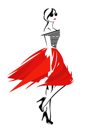 Foto für fashion girl in red skirt and striped top - trendy vector design - Lizenzfreies Bild
