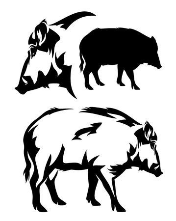 Illustration pour wild boar black and white vector outline and silhouette - image libre de droit