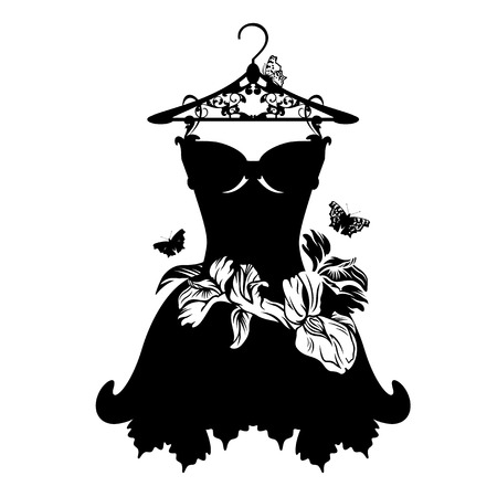 Illustrazione per little black dress with iris flowers and butterflies - black and white vector design - Immagini Royalty Free