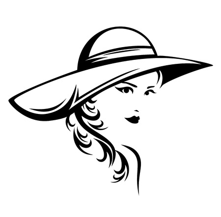 Illustration pour elegant woman wearing hat vector illustration - black and white stylized portrait of a beautiful girl with long hair - image libre de droit
