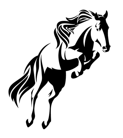 Ilustración de jumping horse black and white vector outline - monochrome equine design - Imagen libre de derechos
