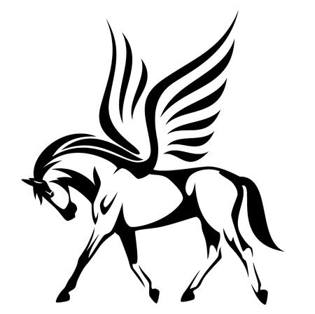 Ilustración de pegasus vector illustration - winged horse side view black and white design - Imagen libre de derechos